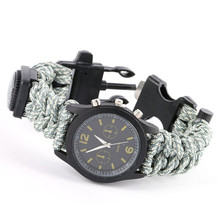Buy Camping Hiking Outdoor Survival Bracelet Watch Compass Flint Fire Starter Scraper Whistle Gear Rescue Waistband for $4.46 in AliExpress store
