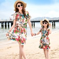 2016 New summer Family mother daughter dresses Fashion flower butterfly dress beach dress party dresses