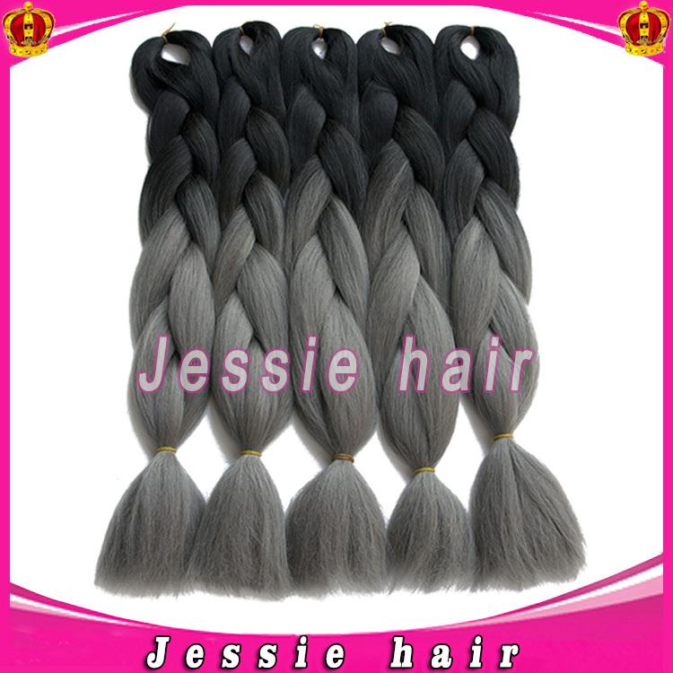Gray Braiding Hair Xpression Kanekalon Jumbo Braiding Hair Colors 24'' 5pcs 100g Synthetic African Cheap Braiding Hair Styles(China (Mainland))