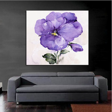 High Quality Handpainted Oil Painting Purple Flower Wall Art on Canvas Modern Abstract Art Wall Stickers Pictures Home Decor(China (Mainland))