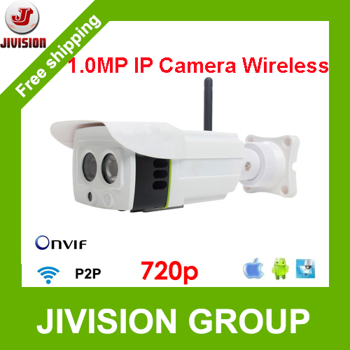 720P IP Camera Wireless 1.0 Megapixel Outdoor Camera LED ARRAY IR 25m ONVIF P2P Wireless Camera IP WIFI Audio SD Card optional(China (Mainland))