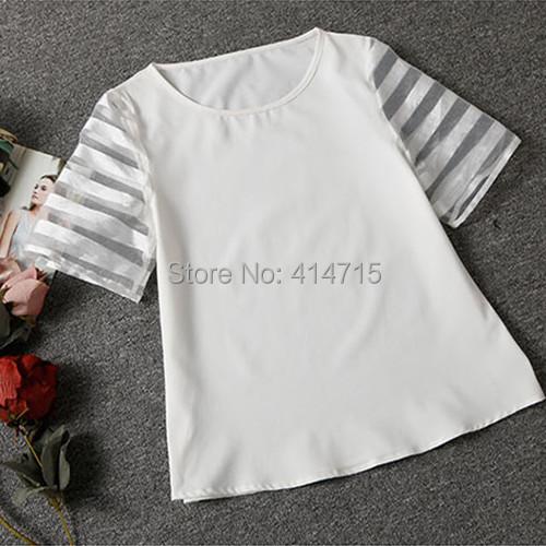NEW 2015 casual t shirt women tops mesh o-neck women's T-shirts plus size tees short sleeve tshirt camisetas mujer polo shirts(China (Mainland))