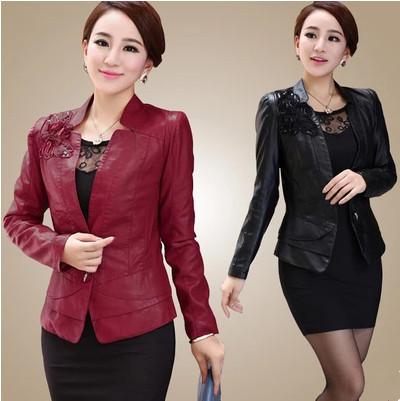 Fashion Women Faux Leather Jacket L--5XL Plus Size Rose/Black/Blue, Slim Senior PU Jackets Coats Ladies Beautiful #JM06682 - Brandway Garments Co., Ltd. store