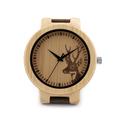 Deer Elk Head Bamboo Wood Watches Men s Luxury Quartz Watch Bobo Bird Brand Designer Leather