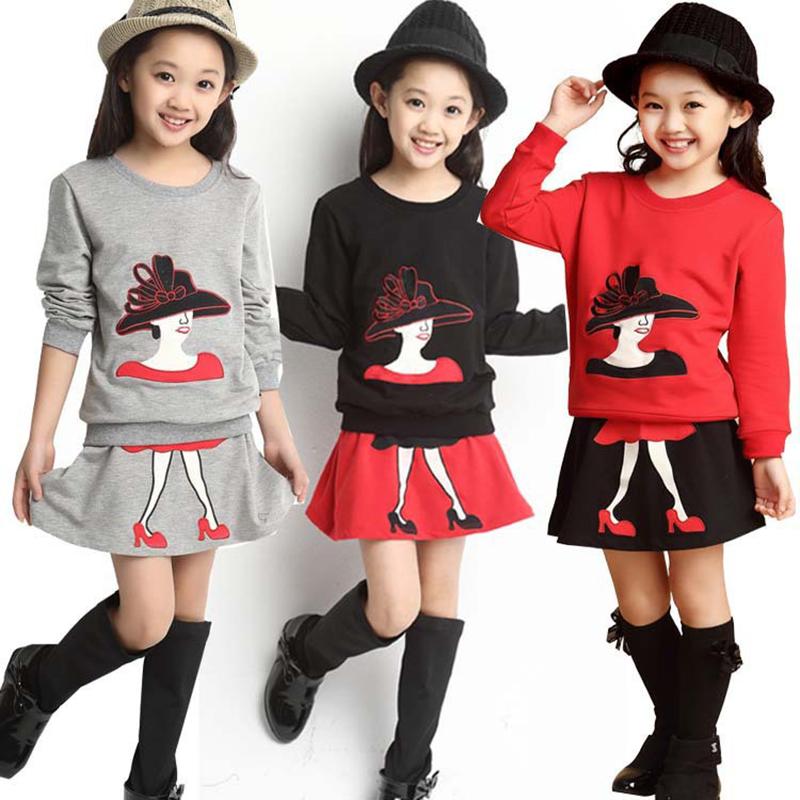 New Girl Dress Set Cartoon Design Toddler Girls Clothing Kids Clothes 1pc Hair Band+1pc Shirts+1pc Skirt Baby Girl Clothes(China (Mainland))
