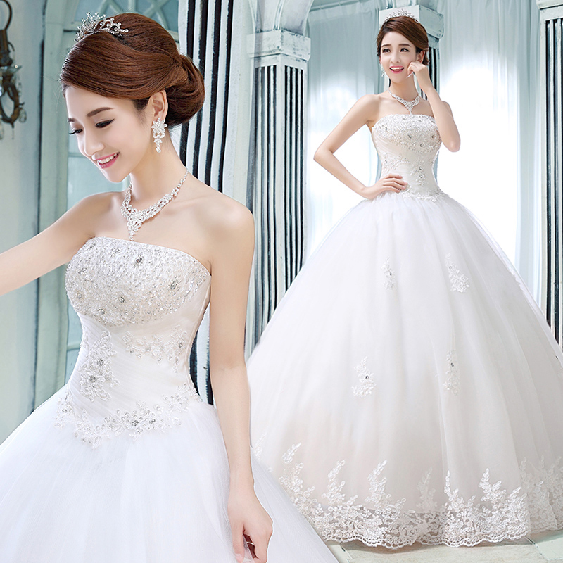 Новый 2016 свадебное платье Построен Бюстгальтер пользовательские роскошные хрустальные украшения Корейский длиной до пола сладкий платье невесты
