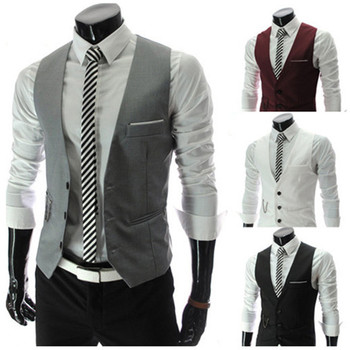 Gilet Homme Men Casual Suite Vest Plus Size XXXL Sleeveless Gilet Grey Suit Vest Black White Veste Sans Manche Casual Suit Vest