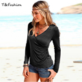 2016 Summer Women T Shirts V Neck Polyester slim slimming shirt Long Sleeve Bottoming Shirt Plus