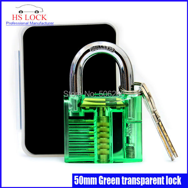 50MM Transparent Cutaway Inside View Of Practice lock pick Locksmith Security Training Tool Green(China (Mainland))