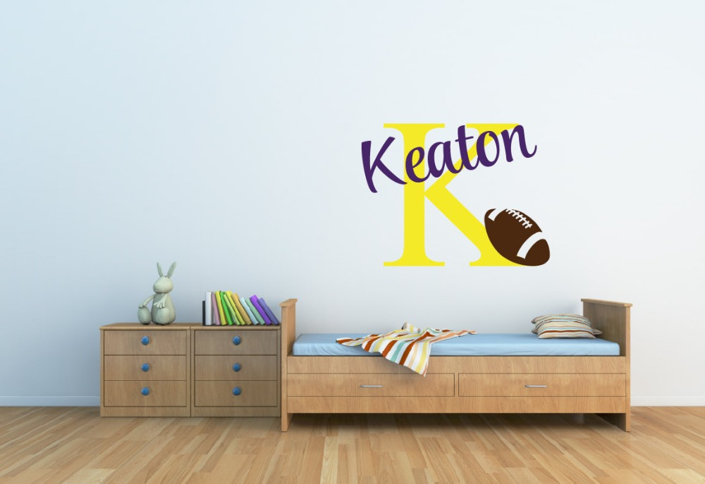 Personalized kids initial Name Wall sticker, America Football Sports nursey mural.boy gift(China (Mainland))