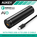 AUKEY Quick Charge 3 0 Mini 5000mAh Cylindrical Power Bank With AiPower Adaptive Charging Portable External