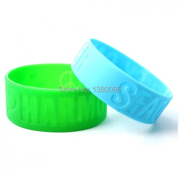 free shipping 1 inch silicone wristbands and custom 1 inch rubber bracelets custom silicone wristbands(China (Mainland))