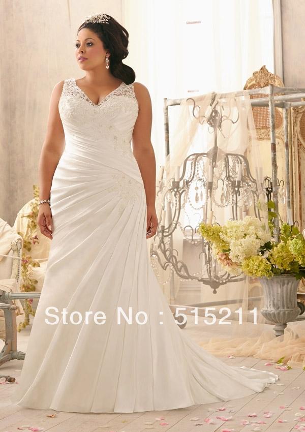 Sexy Spaghetti Strap V Neck High Waist Ivory Mermaid Wedding Dresses Plus Siz