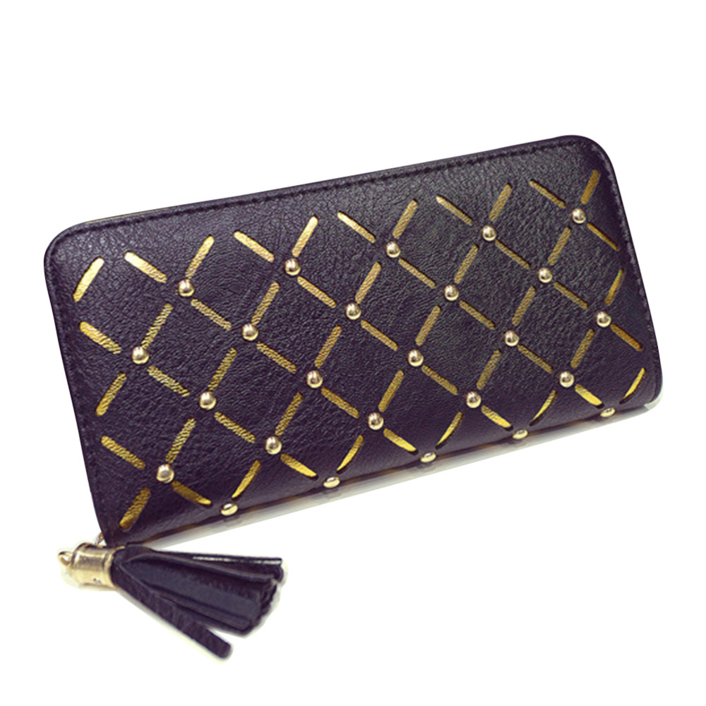 Fashion Women Hollow out Long Wallet PU Leather Zipper Clutch Bag Large Capacity Wallets Korean Style Ladies Card Holders Purses(China (Mainland))