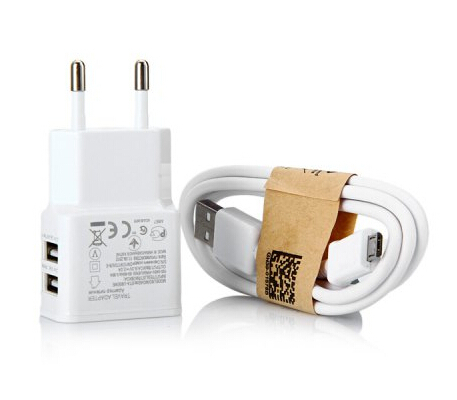 2 1 Dual USB Outputs Power Adapter EU Plug Charger Micro Interface Charging Data Transfer Cable Samsung HTC - QiFeng store