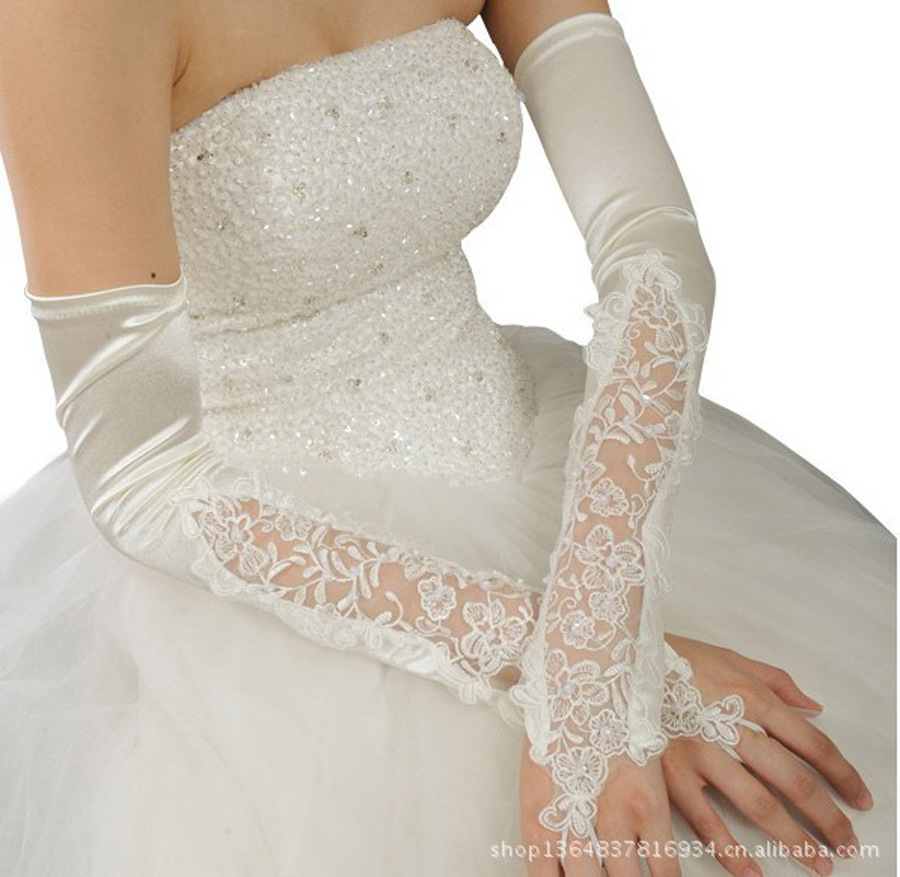 New wedding bride gloves lace fingerless wedding gloves for Wedding dress with long gloves