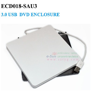 Super Slim External Slot in DVD RW Enclosure USB 3.0 Case 9.5mm SATA Optical Drive For laptop Macbook,No Driver ECD018-SAU3(China (Mainland))