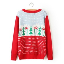 UGLY Christmas Sweaters Women Winter Christmas Spell Color Sleeve Round Neck Jacquard Knit Jacket Causal Pullover Sweaters