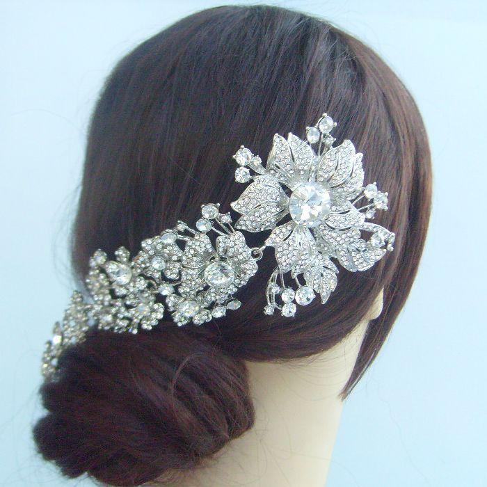 Bridal Hair accessories Wedding Hair Comb 7.28 Inch Silver-tone Rhinestone Crystal Flower Hair Comb Wedding Headpiece FSE04704C1(China (Mainland))