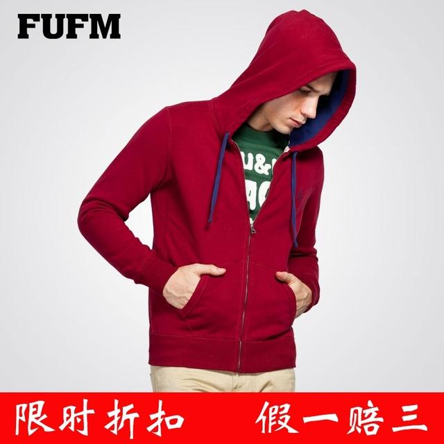 Fufm male winter 100% cotton with a hood sweatshirt men's fleece basic cardigan outerwear male