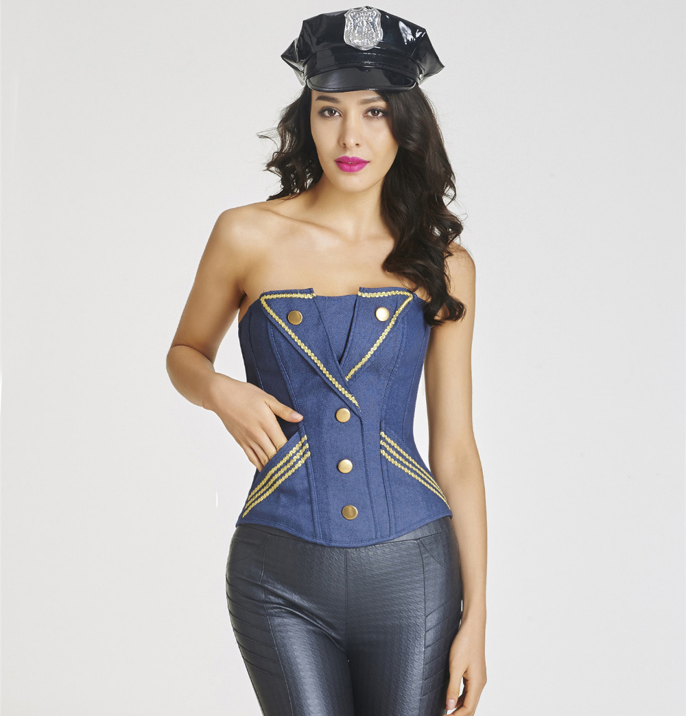 Women clothing Gold with decorative edge corset Steampunk bustier sexy Corselet button Corset&Bustier Strapless bustier corset