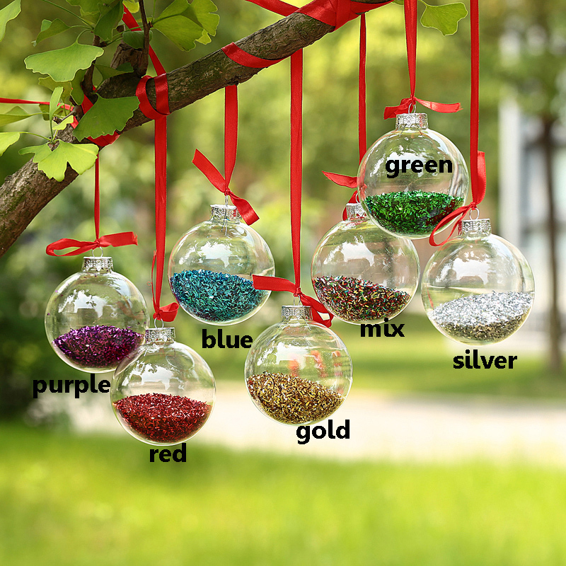 Dia5cm Clear Glass Balls , Christmas Ornaments Pendants with shiny glitter decor IN , Wedding balls Event Party Decor balls x 12(China (Mainland))