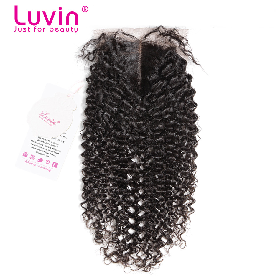 Luvin Hair Products 6A Brazilian Human Hair Lace Closure Kinky Curly Bleached Knots Lace Top Closure DHL Free Shipping