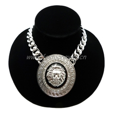 """Celebrity Style Iced Out Lion Face Pendant w/15mm 16"""" Link chain Necklace Rhodium Plating(China (Mainland))"""