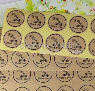 NeW Design 100pcs/lot Round Kraft Thank You Sticker Label self-adhesive Seal label sticker Custom Logo Cost Extra MOQ :1000 PCS(China (Mainland))