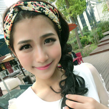 1 X 2015 Fashion Women Girl Hair Accessories Yoga Elastic Turban Floral Twisted Knotted Hair Band Headband(China (Mainland))