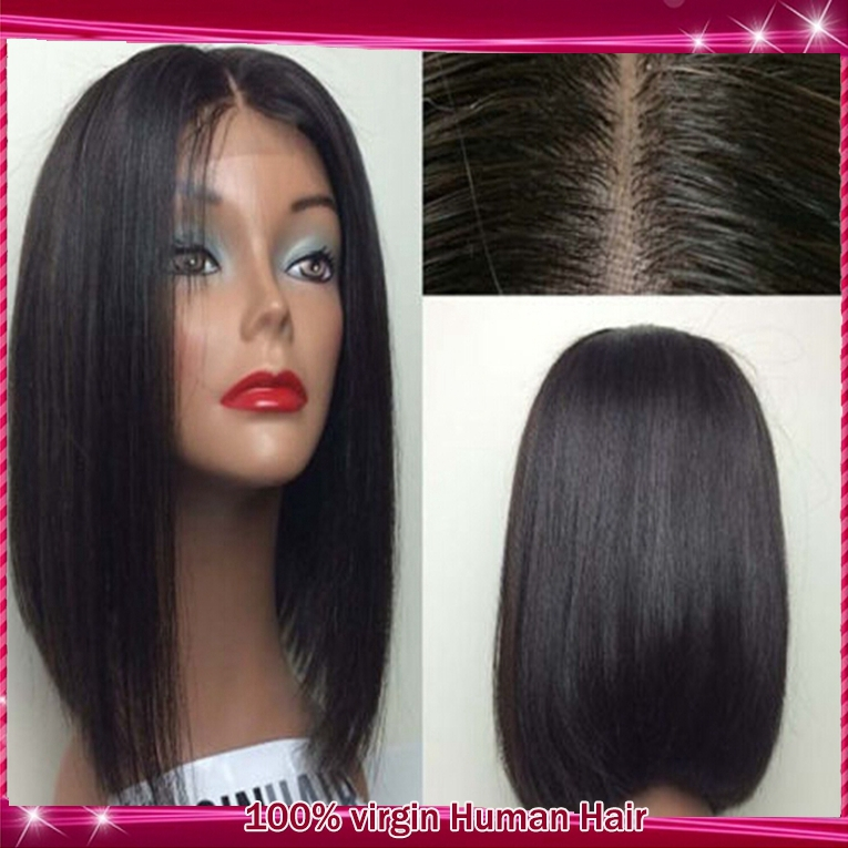12inch middle part glueless lace front human hair bob wigs/short full lace wig Brazilian cheap virgin hair wig for women<br><br>Aliexpress