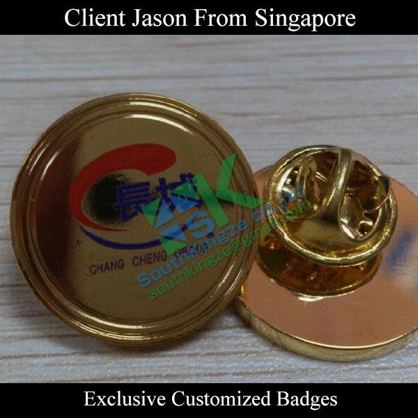 Custom company logo pad print badge from Singapore(China (Mainland))