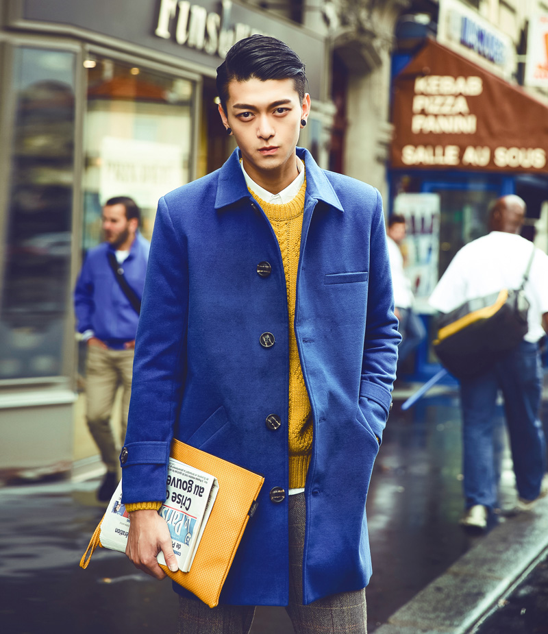 2014 Fashion Week Mens Woolen Long Trench Coat Elegant Euro American Slim Single-breasted Autumn/Winter Outwear Blue/Yellow/RedОдежда и ак�е��уары<br><br><br>Aliexpress