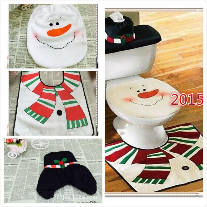 2015 NEW 3pcs/set Christmas Decoration New Year Santa Bathroom Set Toliet Seat Cover and Rug Case Mat Cover Set Natal Navidad(China (Mainland))