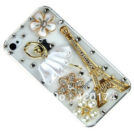 3D Crystal diamond Flower, Ballet dance girl Ballerina,Eiffel Tower Design Hard Protector Case for iPhone4 4S