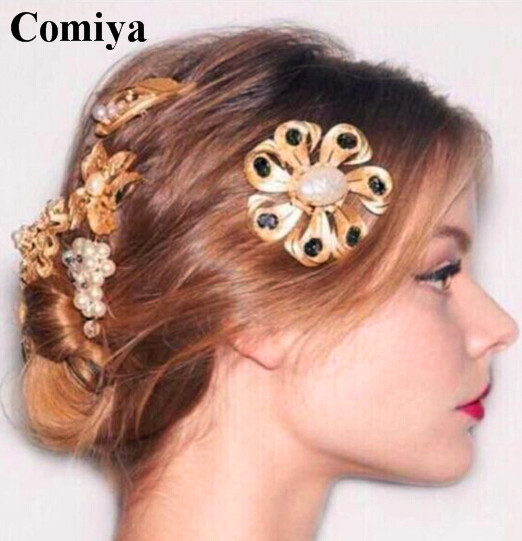 New European and American style Baroque Catwalk Disk flowers simulated pearl hairpin bridal hair accessories wedding hair pins(China (Mainland))