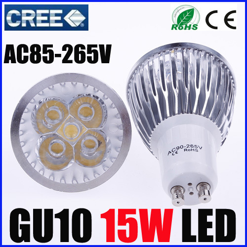 2X Ultra Bright Cree Dimmable GU10 led 15W Bulb GU10 Socket  Led Lamp Led Light Led Spotlight AC85-265V CE/RoHS Warm/Cool White