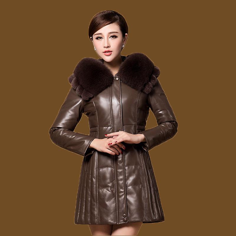 2014 New fashion winter coats Womens coat large fox fur collar sheepskin leather real outerwear slim Dropship - China BOB'S Grand Clothing Store store