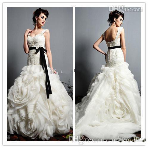 New style folding belt 2015 organza wedding dress applique zipper double straps church wedding dress(China (Mainland))
