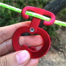 Camping Outdoor T Shape Aluminum Alloy Self-locking Carabiner Hook Rope Tensioner For Safety Outdoor Mountain Climbing Hike 2Pcs