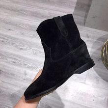 2019 klassische Retro Nude Wildleder Stiefeletten Für Frauen Sticken 5 CM Erhöhen heels Kurze Stiefel Bequeme Flache Winter Schuhe frau(China)