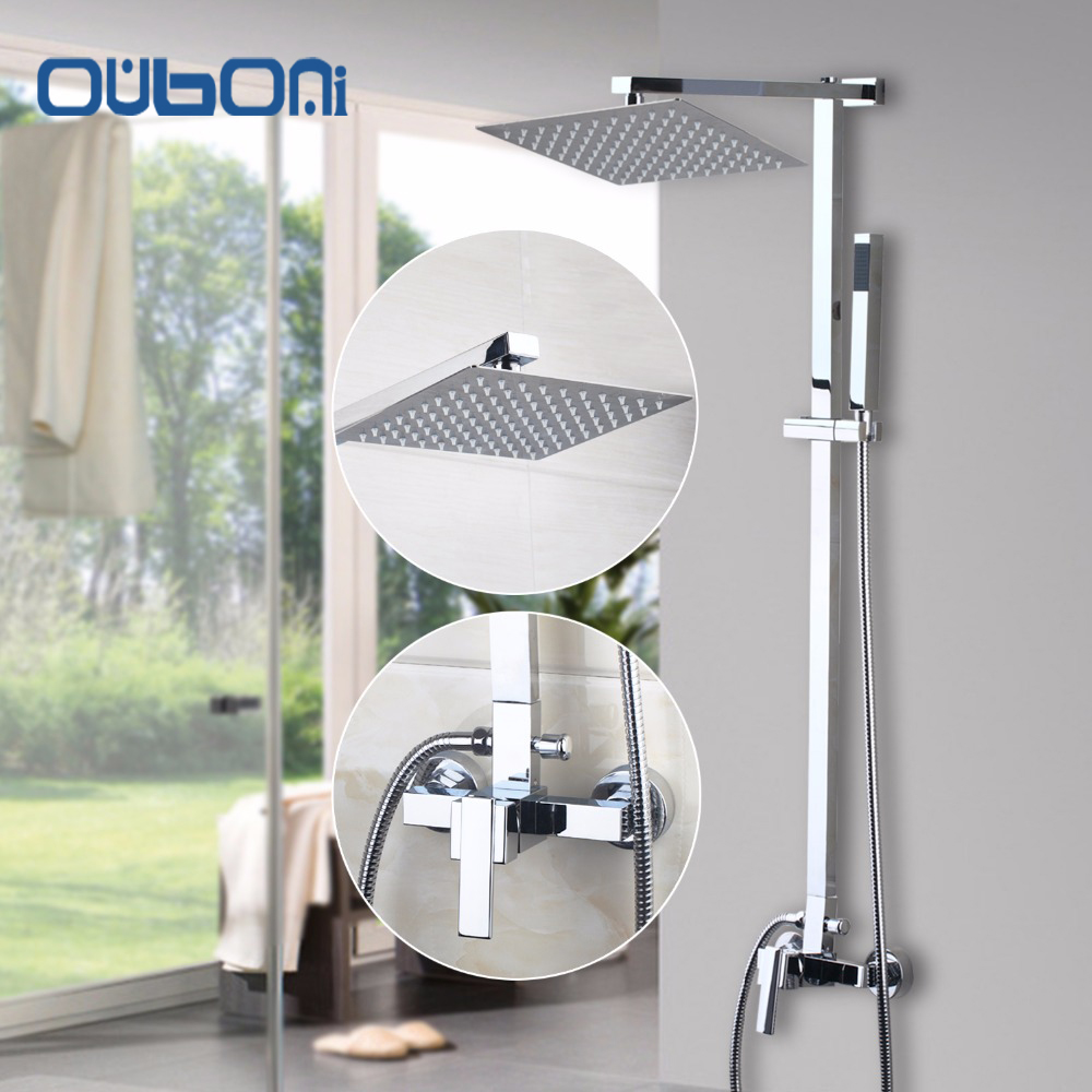 "US Stock Ouboni New Bathroom Shower Set Wall Mounted Shower Faucet 8"" Shower Head Water Saving Shower Set Faucets Brass Chrome(China (Mainland))"