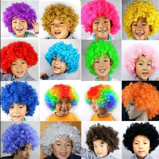13Colors Party Afro Funny Curly Clown 70s 80s Children Wig Disco Circus Costume dress up(China (Mainland))