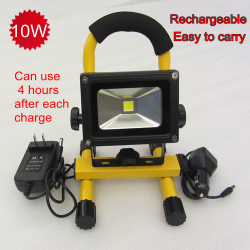 10W rechargeable LED floodlight IP65 protable work light battery European adater & car charger - JIAJIADIAN PHOTOELECTRIC LIGHTING FACTORY store