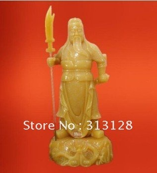 image of emperor Guanyu beige jade craft