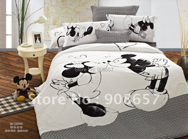 black white mickey mouse printed bedding childrens boys bed linen cotton queen full quilt duvet covers girls comforter sheet set