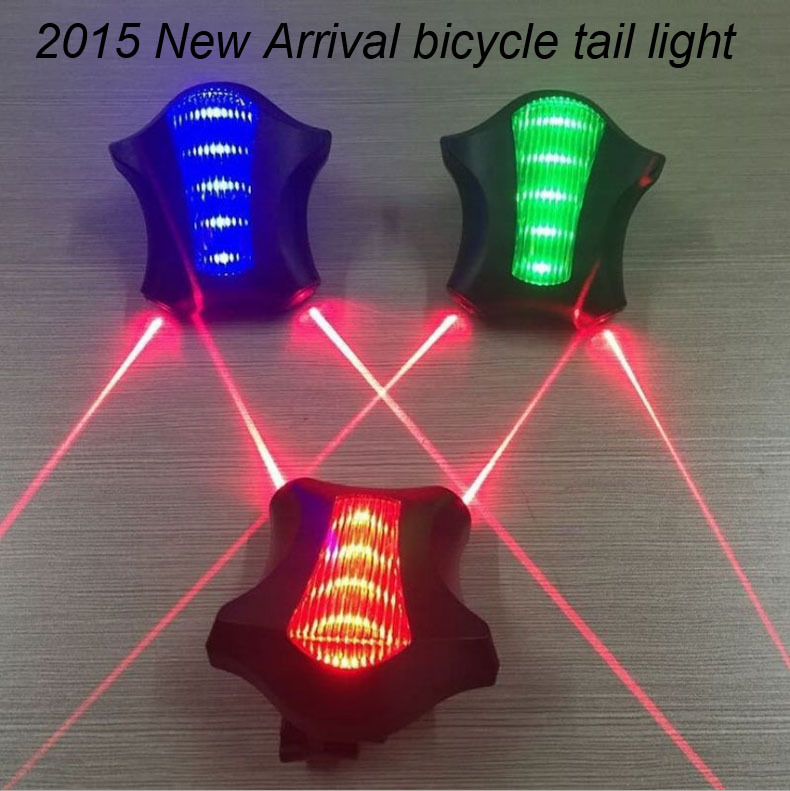 New High Quality Bicycle Tail Lights Safety Warning 5 LED+ 2 Laser Flashing Lamp Light Mountain Bike Accessories Free Shipping(China (Mainland))