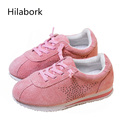 Hilabork Leather girl sports shoes 2017 new hollow boys casual scrub children s spring students anti