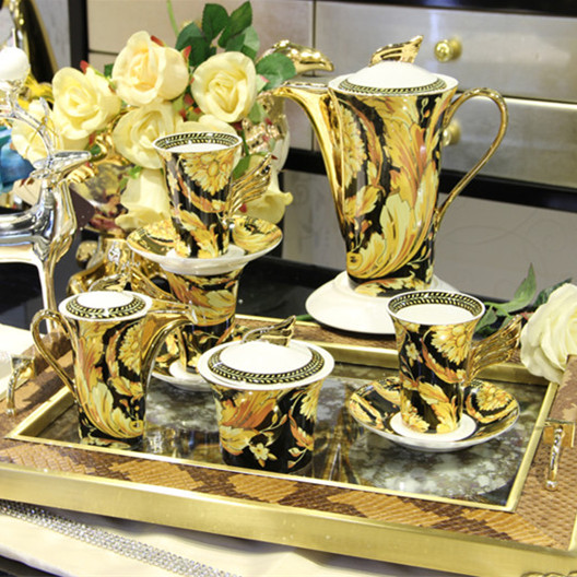 Fashion tea set coffee set high quality bone china coffee cup and saucer ceramic tea set