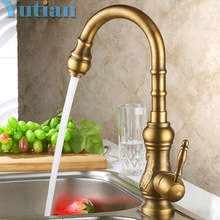 Buy Antique brass kitchen faucet bronze finish,water tap kitchen Swivel Spout Vanity Sink Mixer Tap Single Handle Free 6020 for $55.99 in AliExpress store